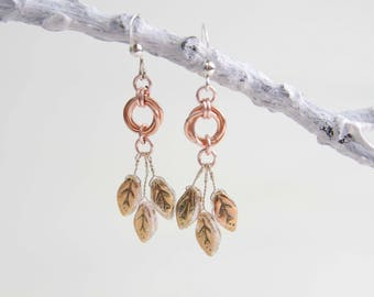 Blush Rose Gold Forest Fairy Earrings