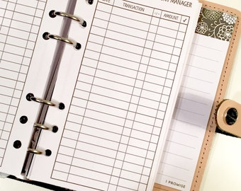 Checking/Bank Account Manager/Register vertical Printed Planner Size Inserts / Personal & Half Letter Size
