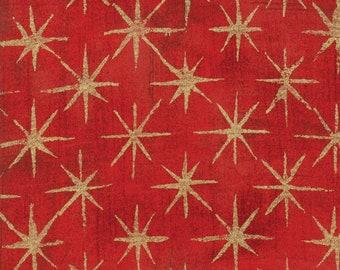 Grunge Seeing Stars Metallic Cherry Red - Basic Grey - 30148 23M - Metallic Stars - Moda Fabrics