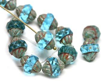 Aqua Blue Turbine beads Picasso czech glass beads Fire polished large 10mm bicones 11x10mm - 1342