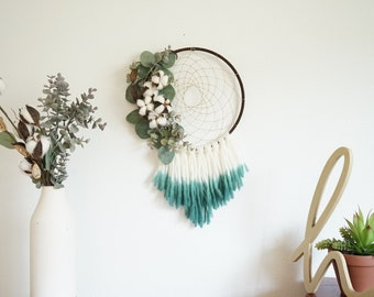 Southern Cotton Stem and Eucalyptus Dreamcatcher