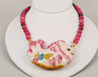Rhodonite Ceramics Fish Pendant Necklace