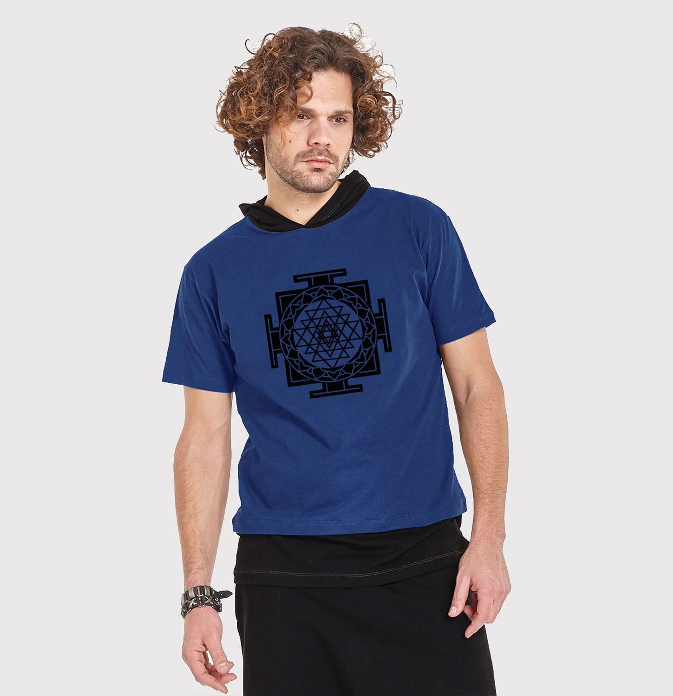 mens hooded tshirt with print TIBETAN BUDDHA - neon print- psy clothing - trance- festival- blacklight active g2bTZ