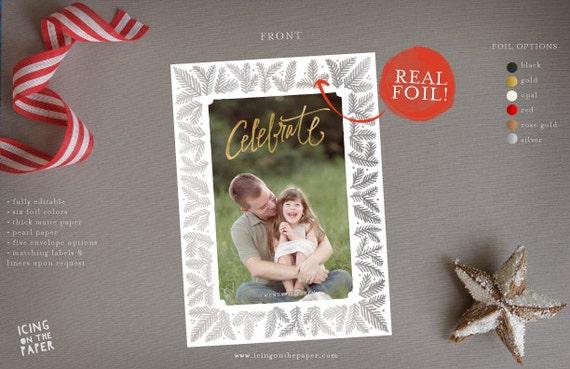 Foil Christmas Card Digital Printed Custom Holiday Photo