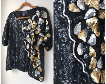 Gold silver and black sequin top t-shirt