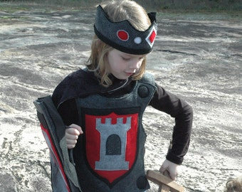 Knight Body Armor, Felt Breastplate, RED and BLACK Halloween Costume, Kid Costume