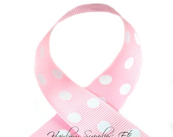 Light Pink with White Polka Dots 1-1/2 inch Grosgrain Ribbon - Choose 1, 5, 10 or 25 yards - Hairbow Supplies, Etc