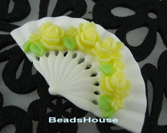 20%off 2pcs Classic Rose On Fan Cabochon,32 x 60mm,Yellow Rose on White