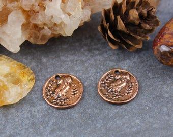 Solid Copper Owl Charms, Pure Antique Copper Bird Pendant Focal Components, 2 pcs, 13mm,  C18, PMC Precious Metal Clay