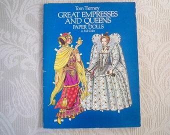 Vintage Paper Ephemera 1982 Paper Dolls Empresses and Queens Tom Tierney Uncut