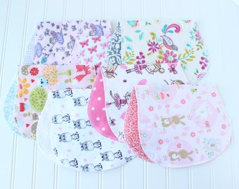 Baby Girl Burp Cloths - Set of 7 - Baby Shower Gift - Baby Gift - Woodland