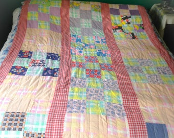 Vintage Twin Patchwork checkered quilt FREE SHIPPNG!!