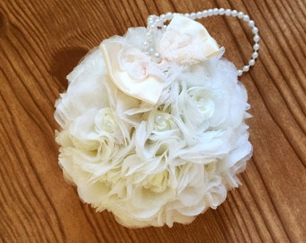 """Flower Ball, Ivory Rose, Kissing Ball, 5"""" ,Pomander, Choose Bow Color, Flower Girl, Bouquet, Bridesmaid Bouquet, Free Hair Pin, Wedding"""