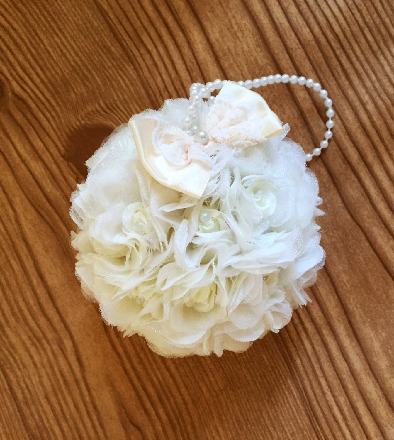 Flower ball ivory rose kissing ball 5 pomander zoom mightylinksfo Choice Image