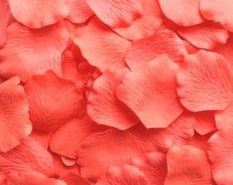 Silk Rose Petals Coral Flamingo 1000 Artificial