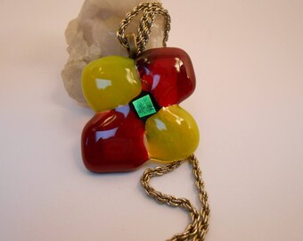 Necklace red and yellow flower in glass fusing