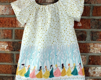 White Gold Star Princess Dancing Cotton Flutter Sleeved Dress Size 3T Ready to Ship