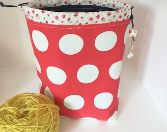 Cath Kidston large dots mini drawstring sock knitting / crochet project bag