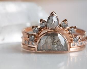 Sun, Moon + Stars Grey Rose Cut Diamond Ring Stack