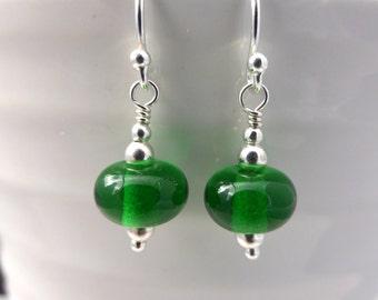 Emerald green earrings, silver with lampwork glass