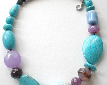 Statement Necklace with Turquoise, Blue Agate, and Purple Amethyst