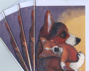 4 x Welsh Corgi dog greeting cards he'd had a busy day mother and baby