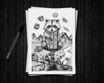 """Fine art limited edition - raccoon Illustration A5 and chocolate """"Raccoon"""""""