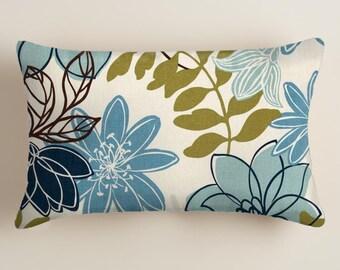 Blue Pillows  -  Pillows - Lumbar  Decorative Throw Pillow -  Accent Pillows  Decor Blue Floral Cushion Covers Fall Decor