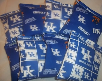 8 ACA Regulation Cornhole Bags - University of Kentucky Wildcats on 2 Different Prints