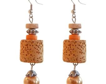orange ethnic lava stone and mustard yellow wood earrings
