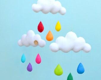 Rainbow cloud mobile.