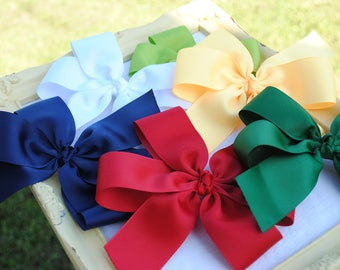 5 Inch Hair Bow Set, Pick SIX Beautiful Ribbon Bows, Large Pinwheel Pony O Hairbow Set 6 Pack Bows Custom Made To Match School Uniform Bows