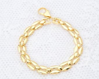 Delicate Gold Bracelet, Gold Chain Bracelet, Layered Bracelet, Chunky Link Bracelet, Vintage Style Bracelet, 24k Gold Plated Jewelry.