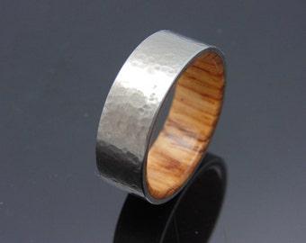 Mens wood and titanium  wedding band  Honduran Rosewood lined titanium ring