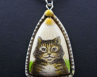 cat kitten scrimshaw technique resin pendant necklace