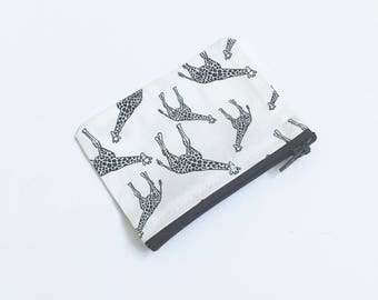 Giraffe Purse, Giraffe Coin Purse, Monochrome Purse, Black and White Pouch, Safari Coin Purse, Animal Purse, Cute Pouch, Giraffe Gift, Gift