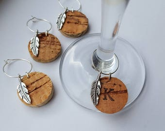 Feather Charm - Handmade Personalised Cork Wine Glass Charms - Wedding, Wedding Favour, Gift, Hen Party, Birthday, Unique