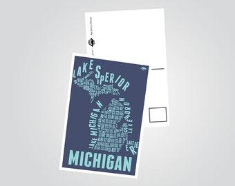 Michigan County Map Postcard