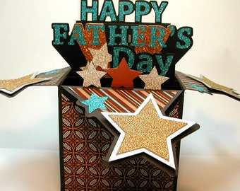 Father's Day 3D Pop Up Box card Stars