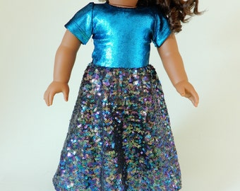 18 inch doll clothes american, Girl doll clothes, 18 inch doll dress, American girl dress, Sparkling party dress doll