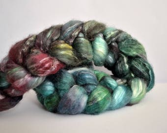 BFL/Seacell (70/30) hand dyed top/roving 'Herbalist'; Ready to Ship!