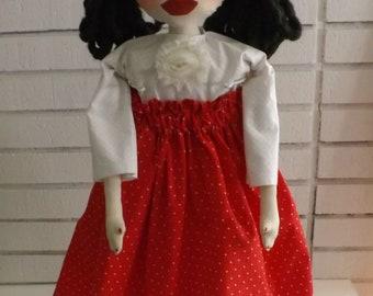 "SALE,27"" Art Doll, Cat Doll,Primitive Art Doll,Folk Art Girl,Folk Art Doll,Folk Art Cat,Art Doll, Gift Idea, Home Decor, OOAK"