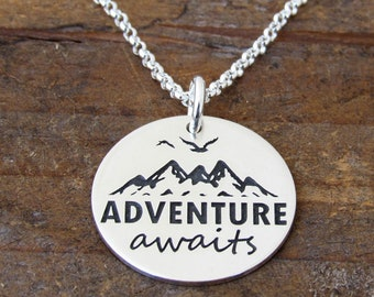 Mountain Necklace, Adventure Necklace, Class of 2018, Inspirational Necklace, Going Away Gift, Goodbye, Motivational, Travel, Ready to Ship