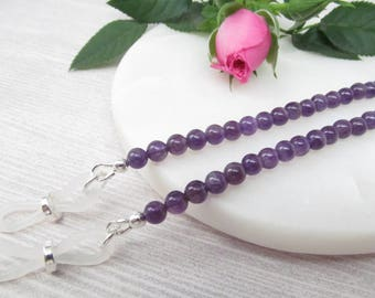 Genuine Amethyst reading glasses holder; purple glasses chain; eyeglass chain; glasses leash; spectacles holder; gemstone; optical chain