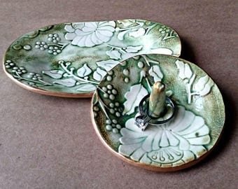 Ceramic Trinket Dish with matching Ring Holder set  Moss Green edged in gold