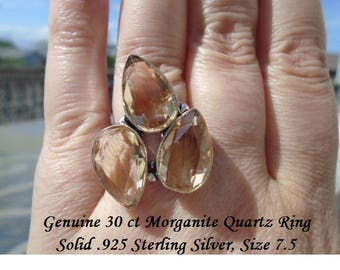 30 ct Morganite Quartz Ring