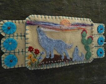 Embroidery Art, Wolf Art, Fiber Art,  Howling Wolf Mug Rug, Wolf Pup, Southwest, Cactus, Sunset, Coffee coaster