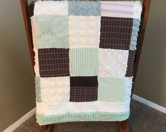 Chocolate Mint Chenille Quilt