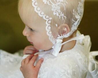 Lace Baptism Bonnet- white- blessing bonnet- christening bonnet- chantilly lace- 0-12mo- Emily Bonnet