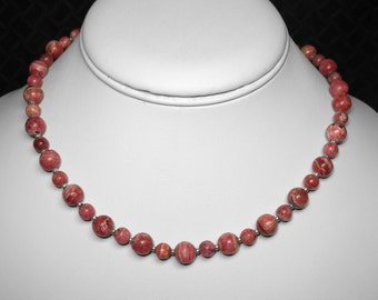 Rhodochrosite Necklace in Silver, 16""